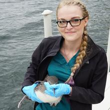 A veterinarian intern standing on a dock with a raptor in her hands