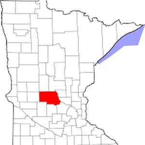 A map of Minnesota counties, with Stearns County highlighted in red